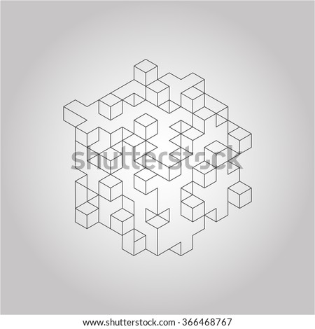 Vector outline isometric cube with different segments - stock vector