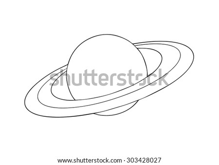 Vector outline Saturn planet with rings on white background. - stock vector