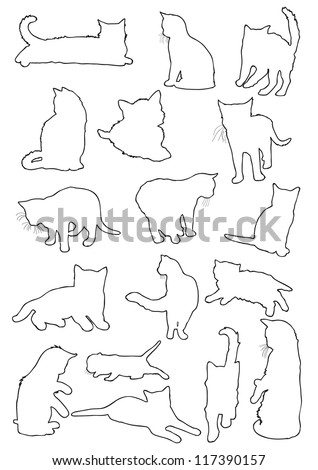 Vector outline silhouettes drawing cats - stock vector