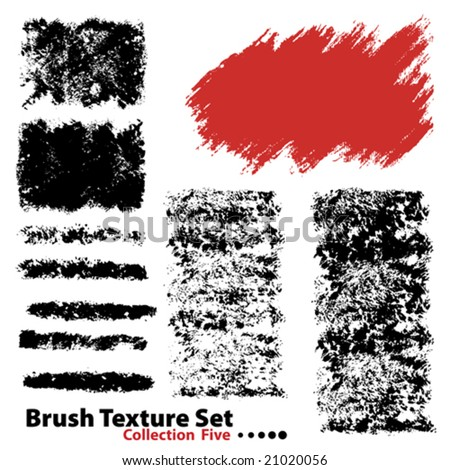 Vector outline traces of customizable organic paint brushes (strokes) in different shapes and styles, highly detailed. Grouped individually, easily editable. Collection set number 5. - stock vector