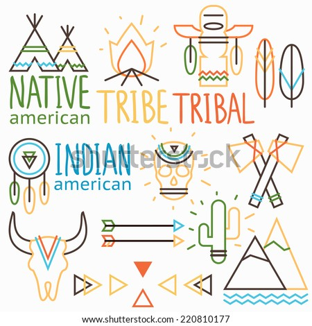 Vector outline tribal labels set, native indian american symbols: human and animal skull, arrow, feather,  bonfire, cactus, wigwam, dreamcatcher, tomahawk, mountain  - stock vector