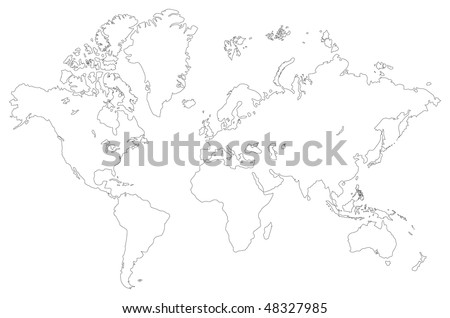 Vector outlined low detail world map. Isolated on a white - stock vector
