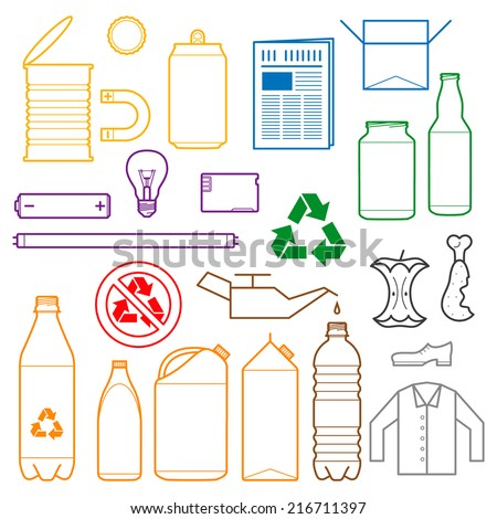 vector outlines icons paper plastic battery metal glass organic paper hazardous for separate collection of waste - stock vector