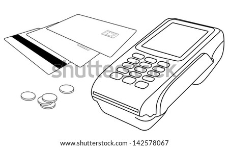 Vector outlines of POS terminal, credit cards and few coins - stock vector