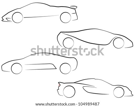 Vector Outlines of Super Cars - stock vector