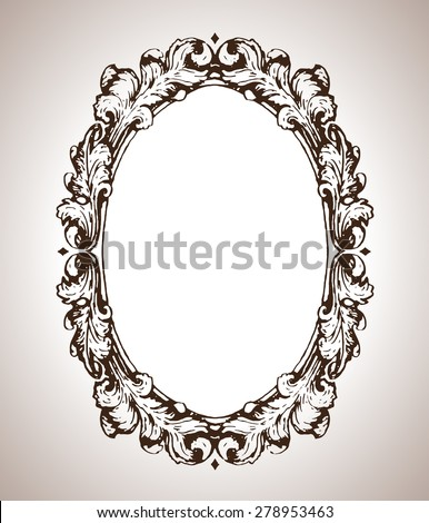 Vector oval graphic frame in antique style - stock vector