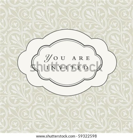 Vector oval ornate frame with sample text and pattern. Perfect as invitation or announcement. Pattern is included as seamless swatch. All pieces are separate. Easy to change colors and edit. - stock vector
