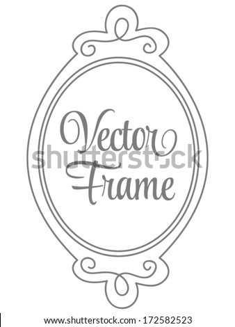 Vector Oval Princess Mirror Frame - stock vector