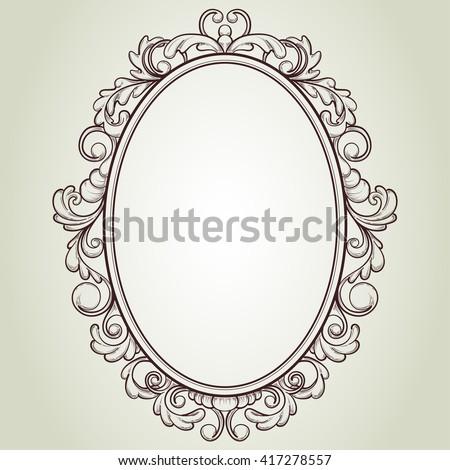 vector oval vintage frame, floral sketch design - stock vector