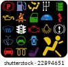 vector pack - car warnings - illuminated signs - part 2 of 2 - stock vector