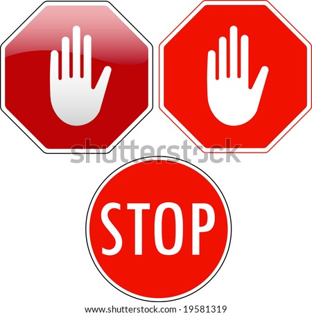 Vector pack of stop signs isolated on pure white (new glossy vs old one color) - also available as direct JPEG file in my gallery - stock vector