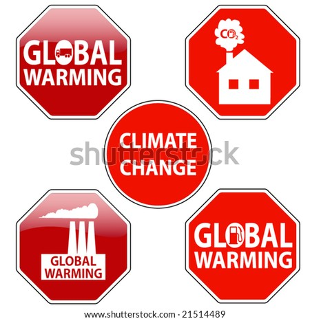 vector pack of stop signs isolated on pure white (new glossy vs old one color) - STOP GLOBAL WARMING - stock vector