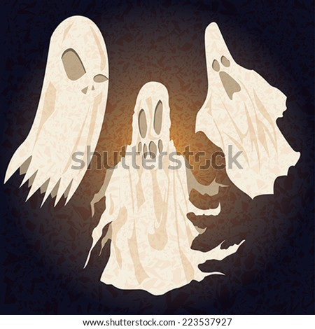 vector pack of three ghosts for halloween - stock vector
