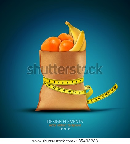 Vector pack with fruit with measuring tape - stock vector