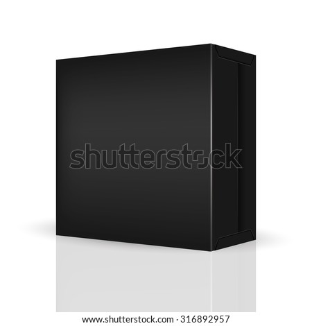 VECTOR PACKAGING: Black package box on isolated white background. Mock-up template ready for design - stock vector
