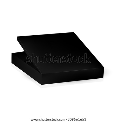 VECTOR PACKAGING: Black packaging box with open lid on isolated white background. Mock-up template ready for design - stock vector