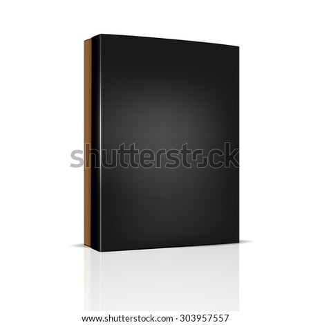 VECTOR PACKAGING: Brown thin package box with black lid on isolated white background. Mock-up template ready for design. - stock vector