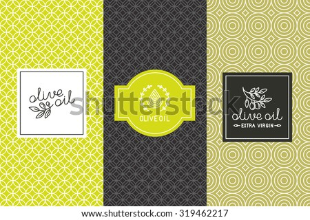 Vector packaging design elements and templates for olive oil labels and bottles - seamless patterns for background and stickers with logos and lettering - stock vector