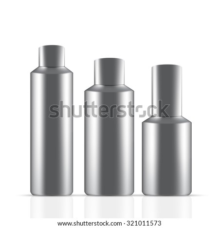 Vector Packaging: Set of gray round bottle container with black for cosmetic/perfume on isolated white background. Mock-up template ready for design . - stock vector