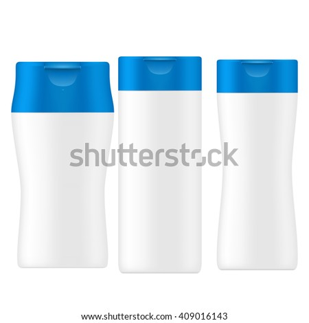 VECTOR PACKAGING: SET of white gray beauty products/cosmetics bottle with blue flip top cap on isolated white background. Mock-up template ready for design - stock vector
