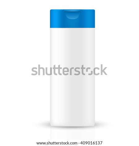 VECTOR PACKAGING: White gray beauty products/cosmetics bottle with blue flip top cap on isolated white background. Mock-up template ready for design - stock vector