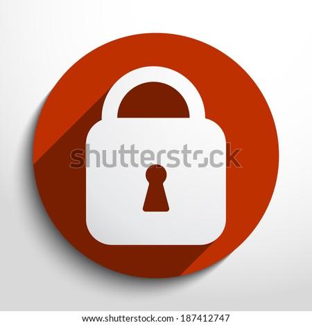 Vector padlock web flat icon in circle - stock vector