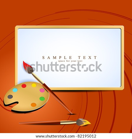 vector paint brush with wooden palette - stock vector
