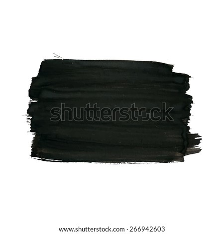 Vector painted background, artistic grunge rectangular banner from brush strokes for your text. Can be used as distress texture template, label, badge or frame, isolated, black on white - stock vector