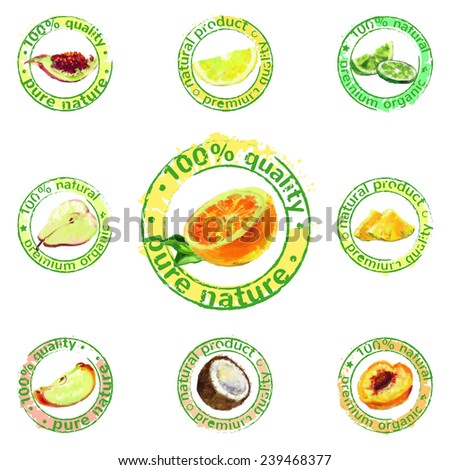 vector painted fruit stamps set - labels of natural organic products - stock vector