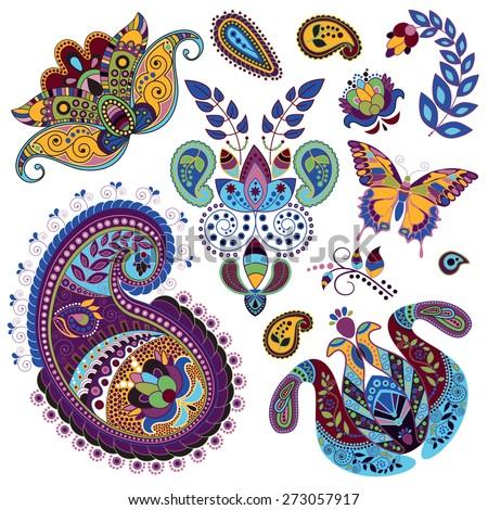 Vector Paisley floral decorative elements - stock vector