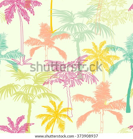 Vector Palm Trees California Pink Green Yellow Seamless Pattern Surface Design With Exotic, Decorative, Hand Drawn Plants. - stock vector