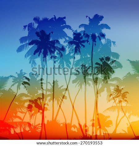 Vector palms silhouettes vector tropical sunset background - stock vector