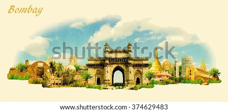 vector panoramic water color illustration of MUMBAI city - stock vector