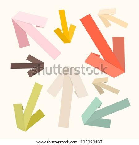 Vector Paper Arrows Set in Retro Colors - stock vector