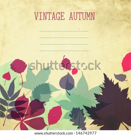 Vector paper autumn leaves background in retro colors. Abstract autumn beauty background with your text for wallpaper, texture, poster, pattern, label, emblem, sign, symbol, frame, decoration - stock vector