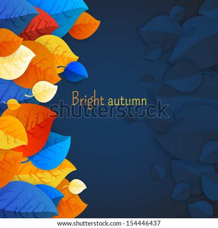 Vector paper autumn leaves background. Vector paper autumn leaves background in retro colors. Abstract autumn beauty background with your text for wallpaper, texture, poster, pattern, label, emblem  - stock vector