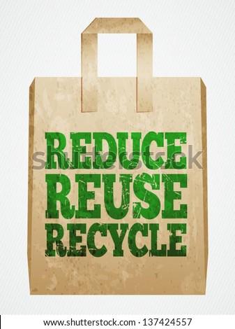 vector paper bag, recycle concept - stock vector