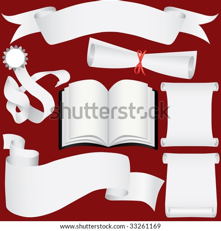 Vector paper banners, book, scrolls and diploma set (CMYK) - stock vector