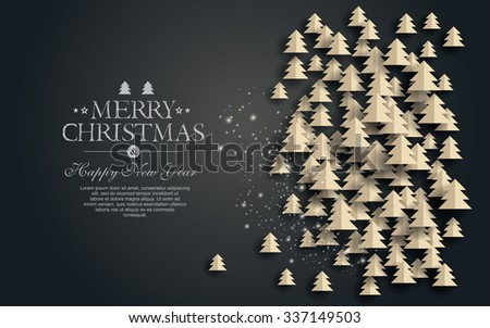 Vector  paper Christmas. Design elements for holiday cards. - stock vector