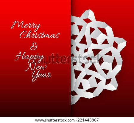Vector paper christmas snowflake on a red background - stock vector