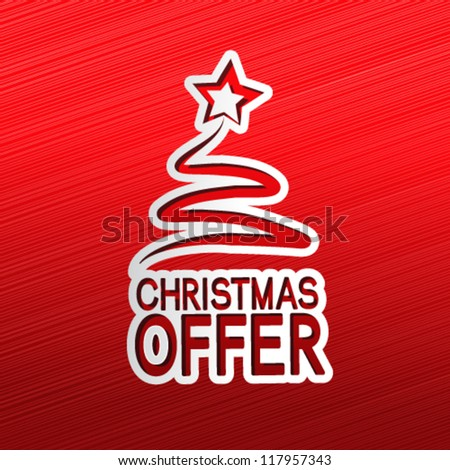 Vector paper Christmas tree, sticker - Christmas offer - stock vector