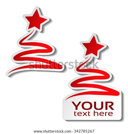 Vector paper Christmas tree with star, red sticker on the white background. Winter sale label for your text, Christmas offer  - stock vector