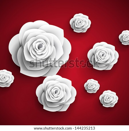 vector paper flowers rose - stock vector