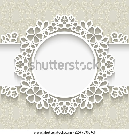 Vector paper frame with shadow, round vignette, lacy label over ornamental background, eps10 - stock vector