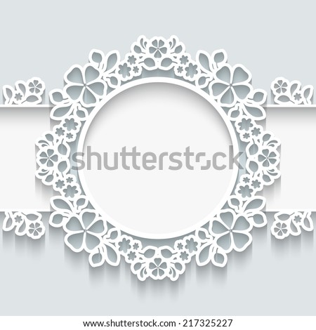 Vector paper frame with shadow,  round vignette, ornamental label on white background, eps10 - stock vector
