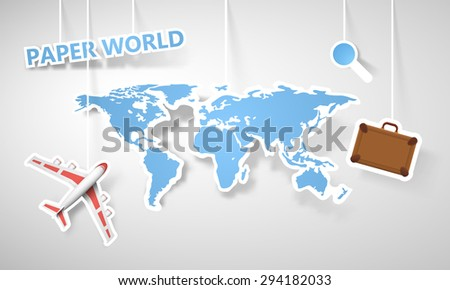 Vector paper globe map of the world. - stock vector
