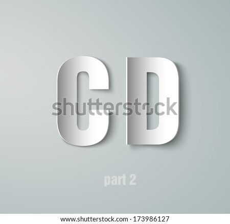 Vector Paper Graphic Alphabet  C D - stock vector