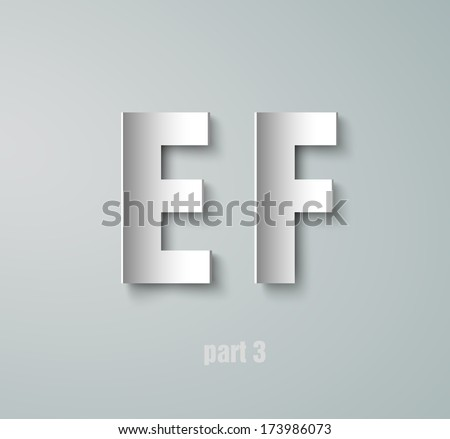 Vector Paper Graphic Alphabet E F - stock vector