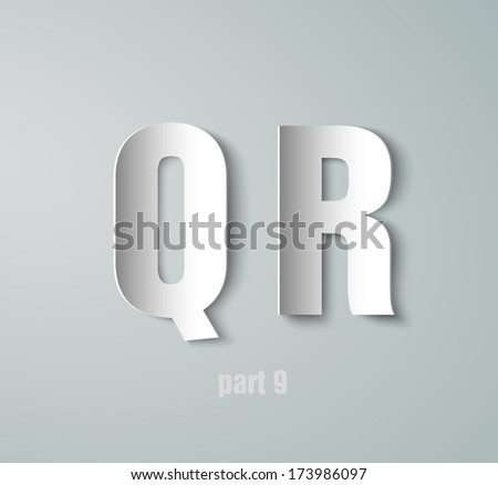 Vector Paper Graphic Alphabet Q R - stock vector