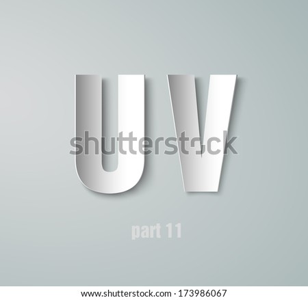 Vector Paper Graphic Alphabet U V - stock vector
